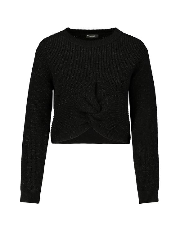 Schwarzer Pullover mit Twist-Effekt