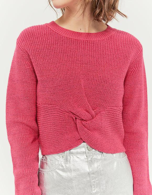 Maglione Rosa Intrecciato
