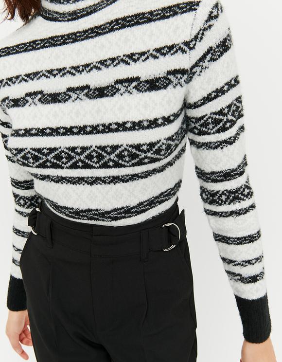 Black & White Jacquard Jumper