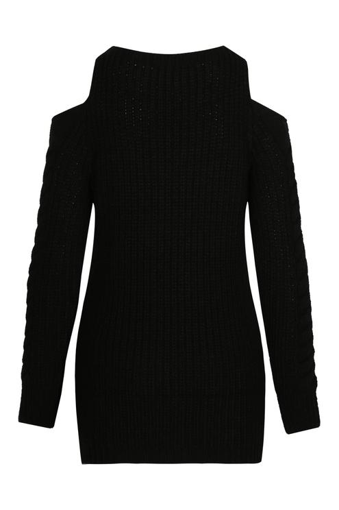 Black Long Cold Shoulder Jumper