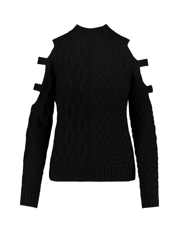 Black Cable Knit Jumper with Cut Out