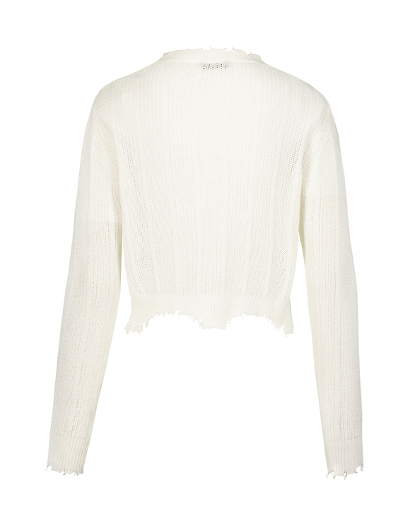 White Soft Destroyed Jumper