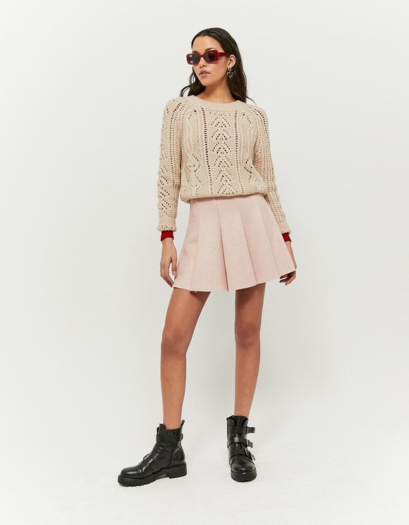 Beige Pointelle Jumper