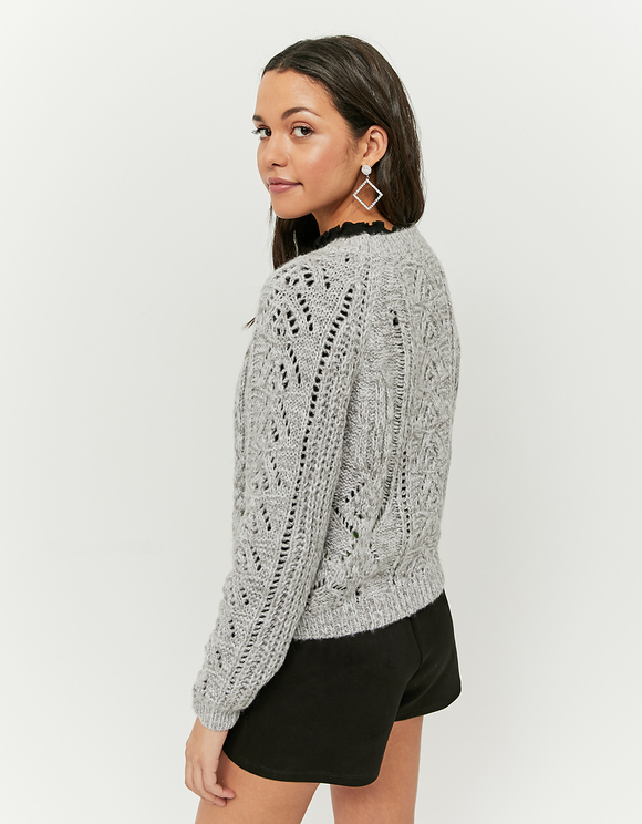 Grey Pointelle Jumper
