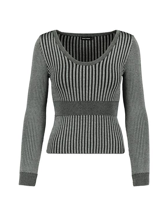 Black & Grey Ribbed Jumper