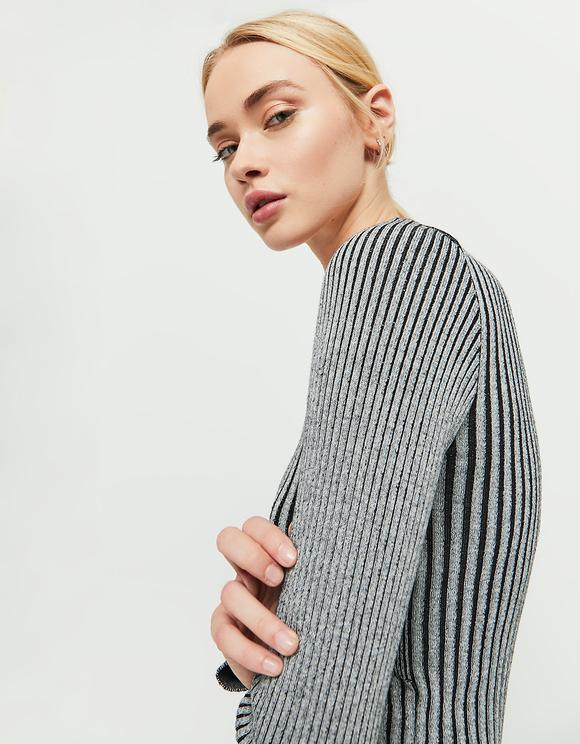 Pull Noir & Gris Côtelé
