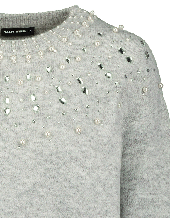 Grey Jumper with Pearls