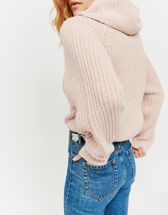 Pink Jumper with Cowl Neck