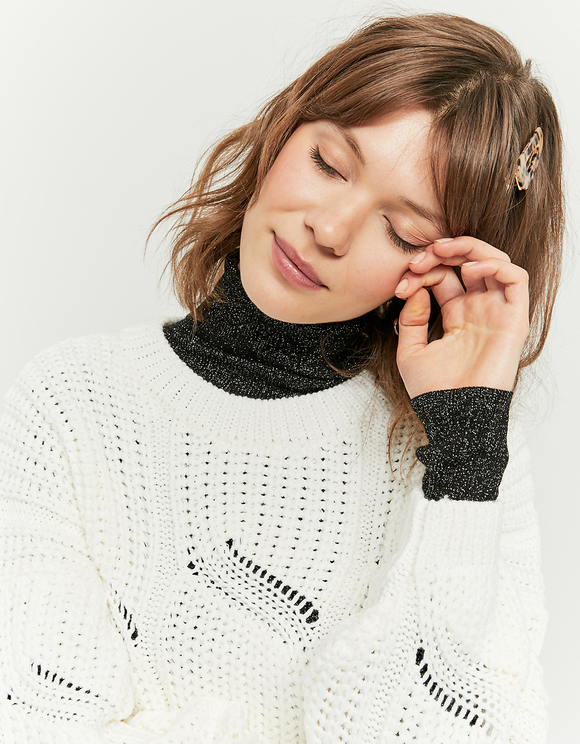 White Pointelle Cropped Jumper