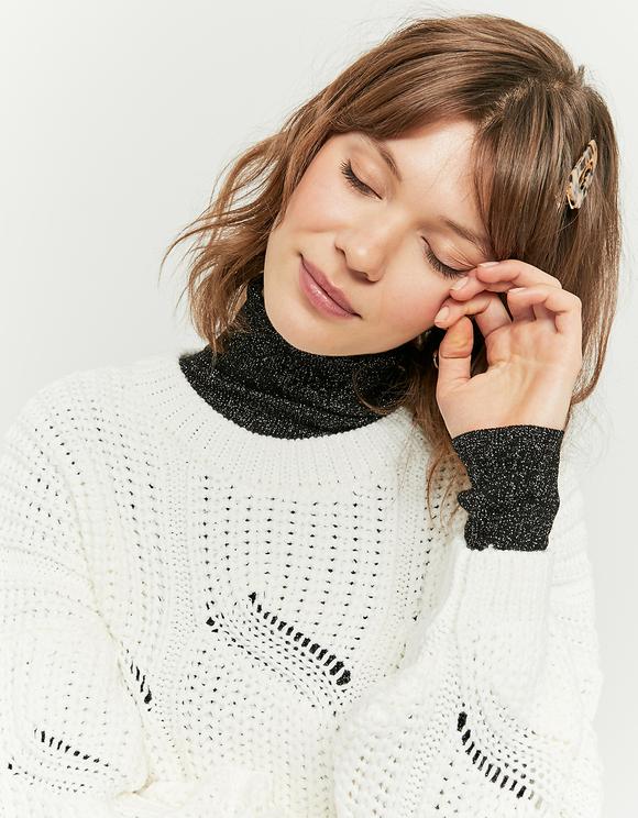 Weißer kurzer Pointelle Pullover