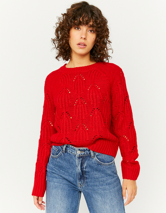 Pull Col Rond Rouge