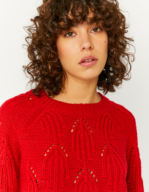 Pull Pointelle Rouge