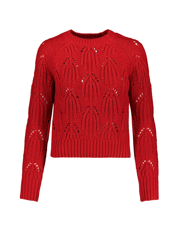 Roter Pointelle Pullover