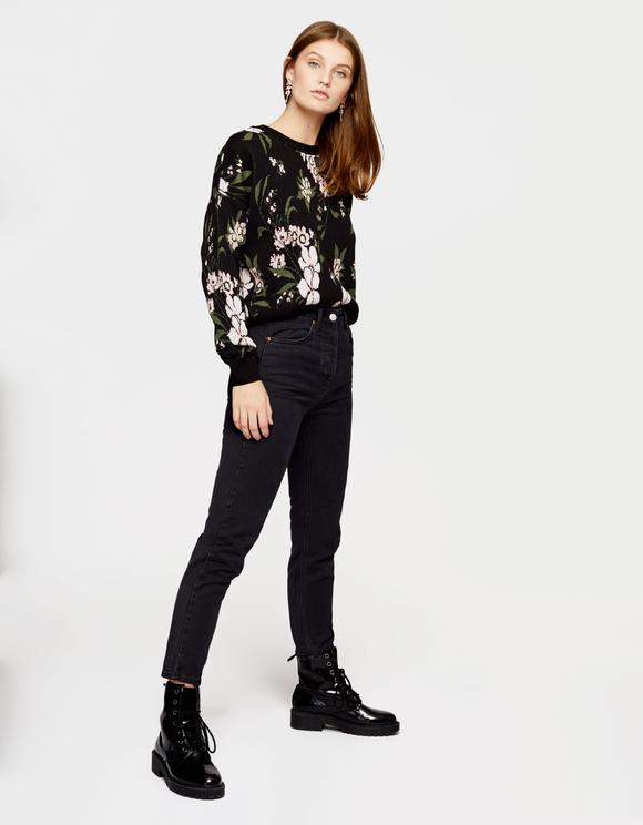 Black Floral Jacquard Jumper