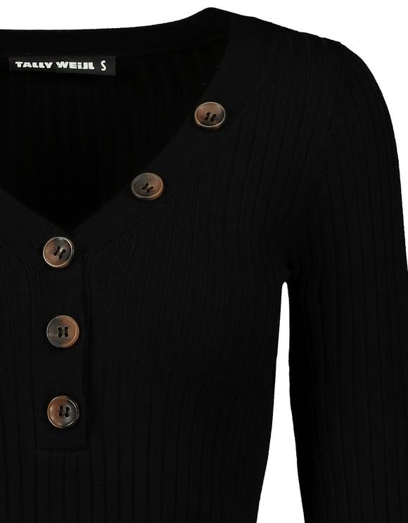 Pullover Nero con Bottoni