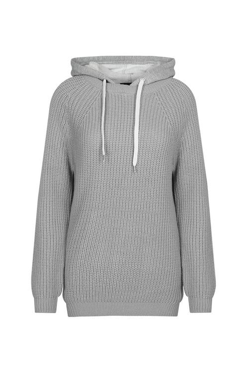 Grey Knitted Hoodie