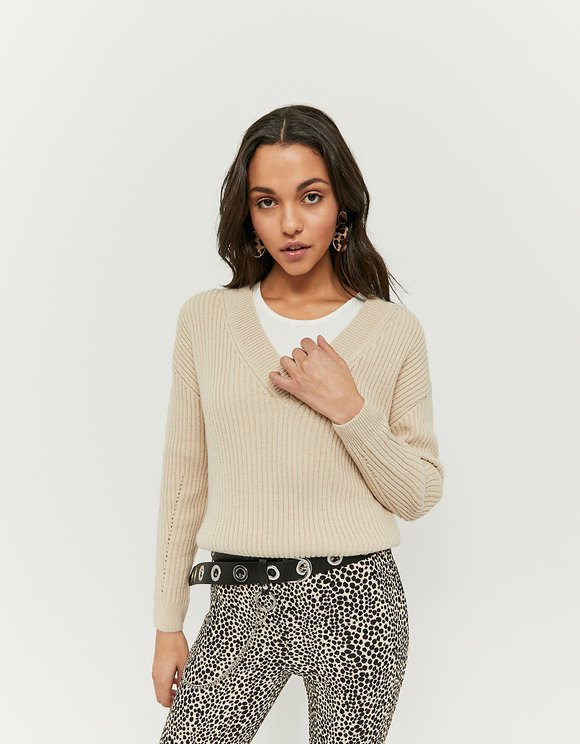 Beige Criss Cross Jumper