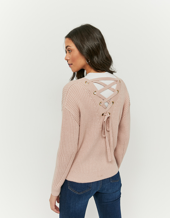 Pinker Pullover mit Criss Cross