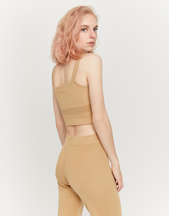 Beige Crop Top with Buttons