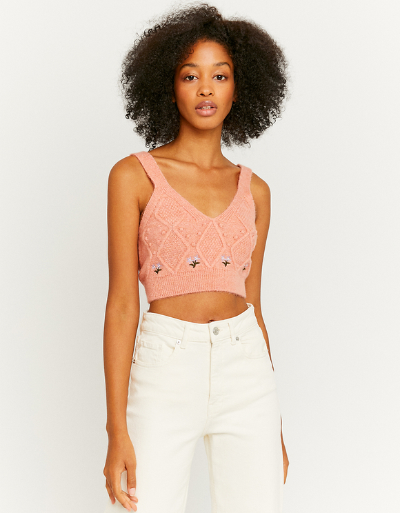 Cable Knit Embroidered Crop Top