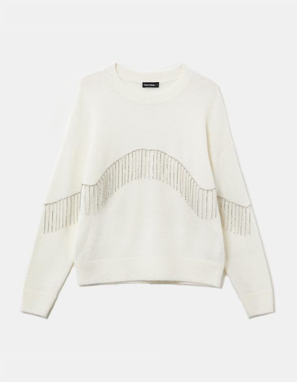 Pull Blanc avec Strass