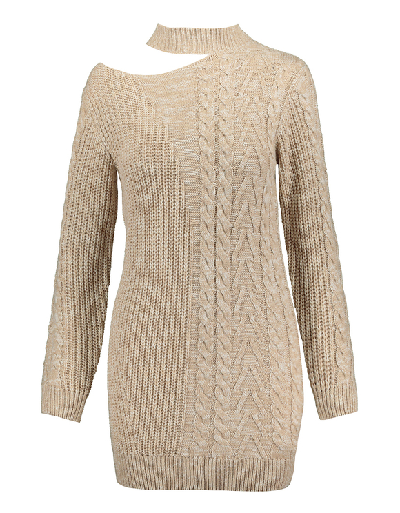 Beige Cable Knit Dress