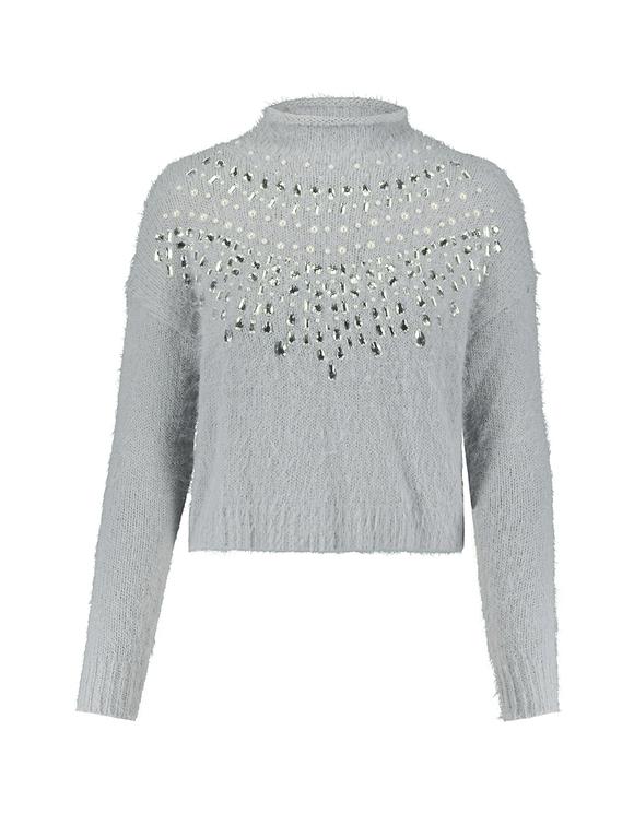 Szary sweter z kryształkami