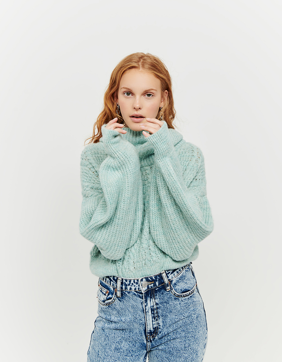 Aqua Green Cropped Jumper