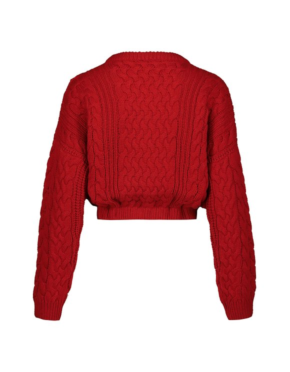 Red Cable Knit Jumper