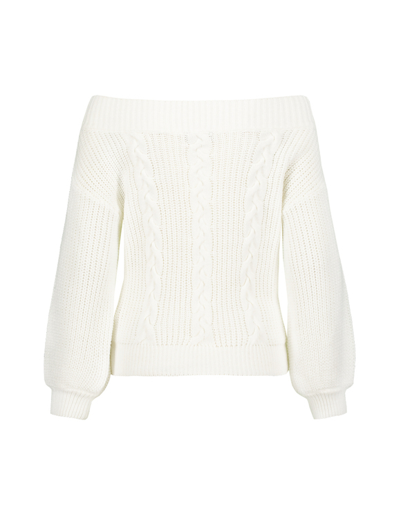 White Off-Shoulder Jumper