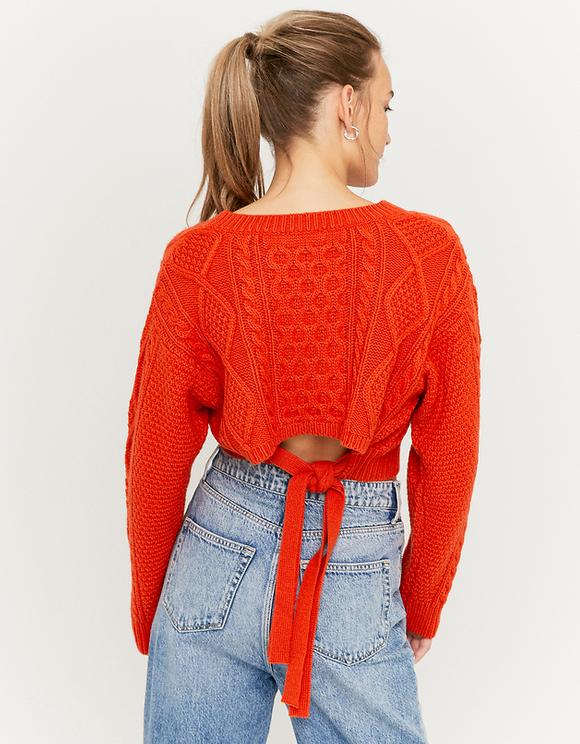 Orange Tie Back Cable Knit Jumper