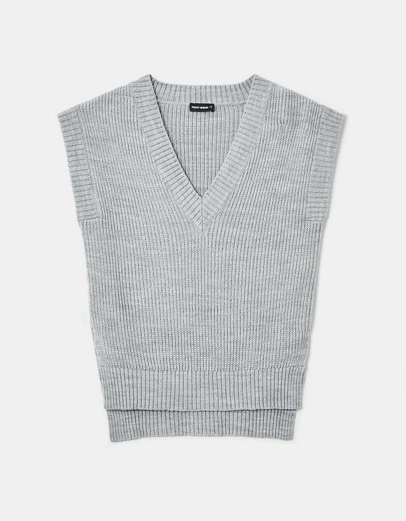 Grauer ärmelloser Pullover