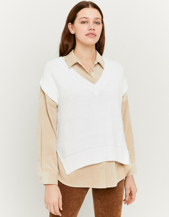 Weißer ärmelloser Pullover