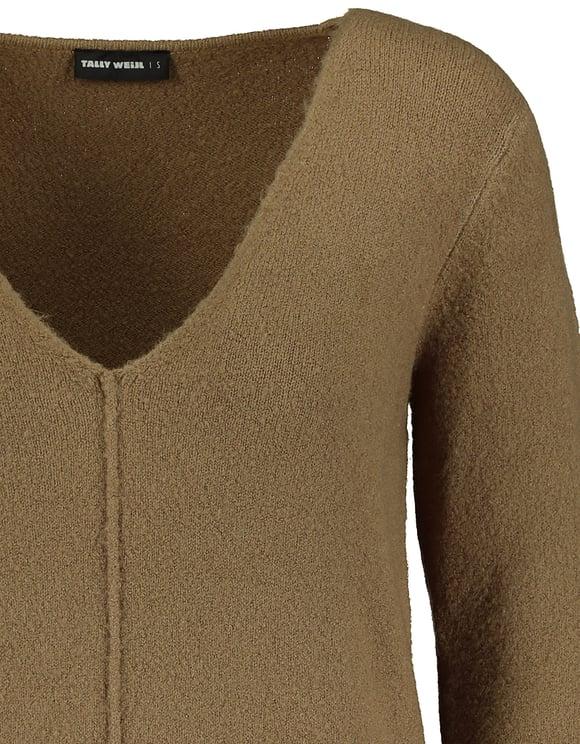 Brązowy sweter z dekoltem V