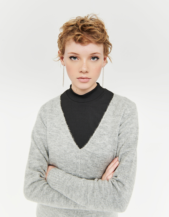 Grey Jumper with V-Neck