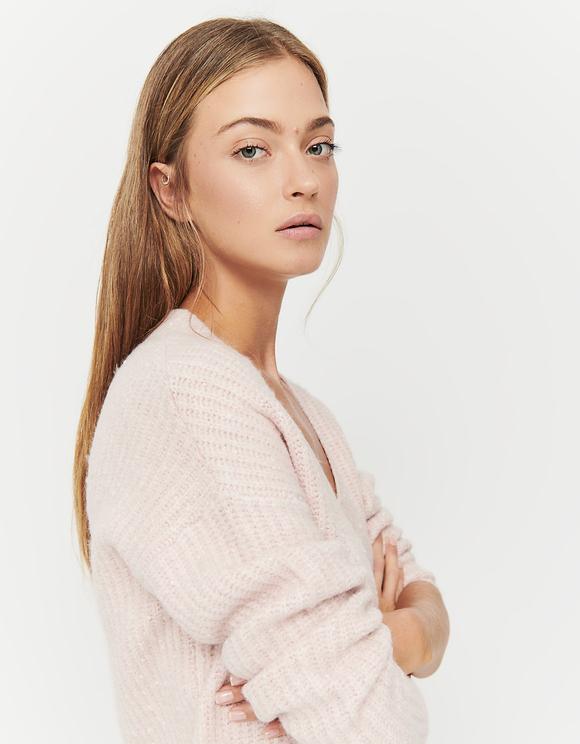 Maglione Rosa con Scollo a V