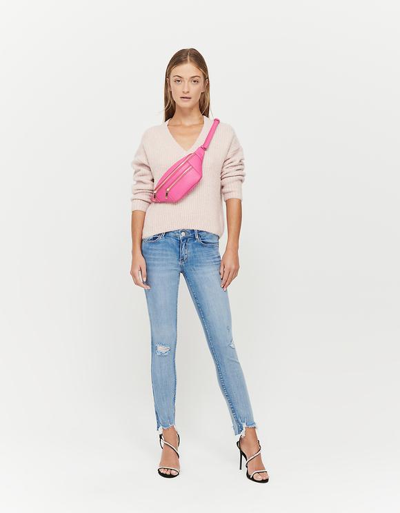 Rosa V-Ausschnitt-Pullover