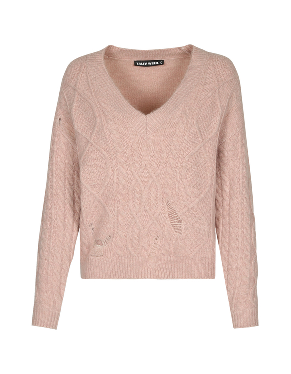 Maglione Rosa Destroyed