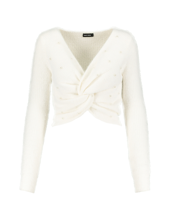 White Twisted Jumper with Pearls