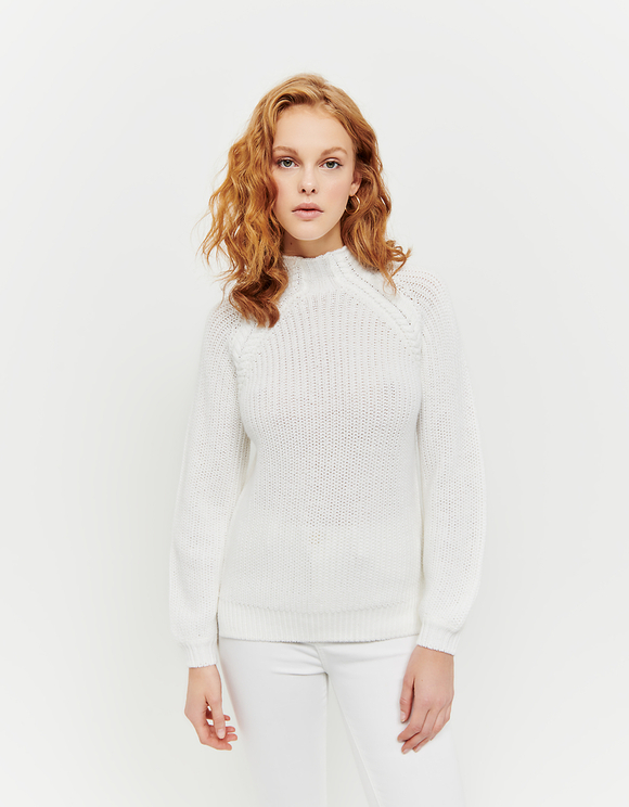 White Jumper with Mock Neck