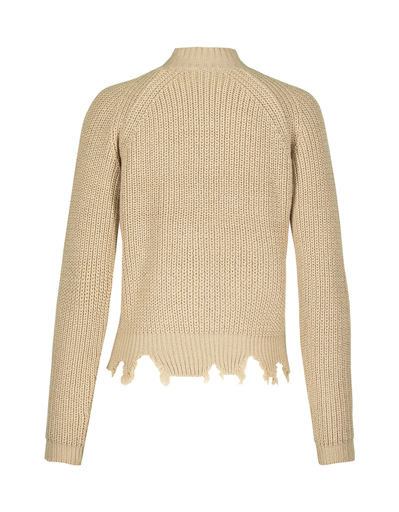Beige Destroyed Ribbed Jumper