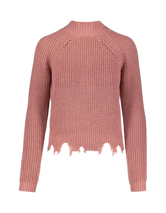 Różowy prążkowany sweter
