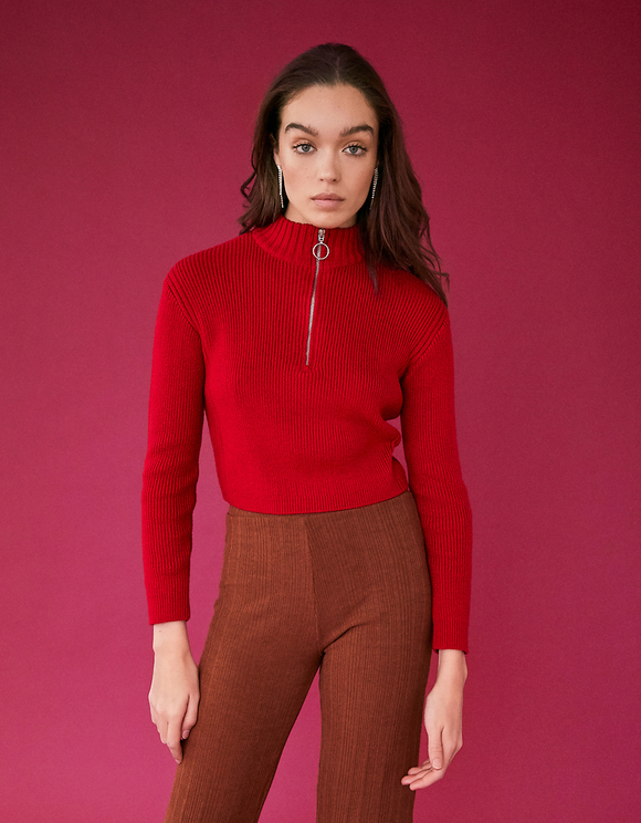 Red Cropped Jumper with Zip