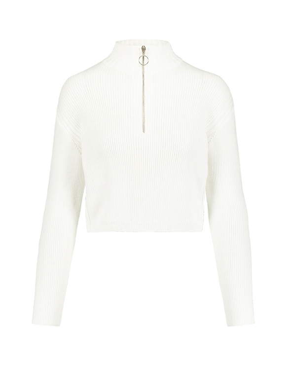 White Cropped Jumper with Zip