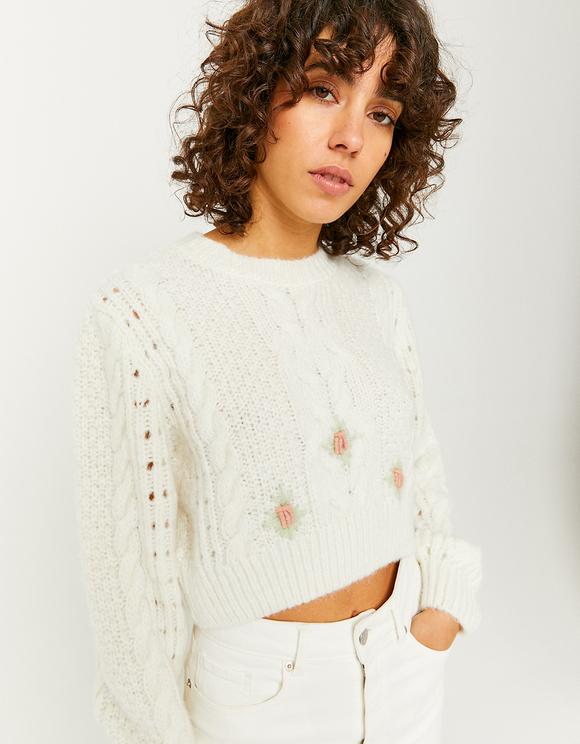 Beżowy sweter ze zdobieniami