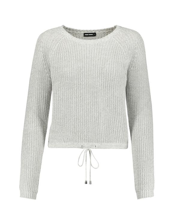 Grauer Pullover mit Raglanärmel und Kordelzug