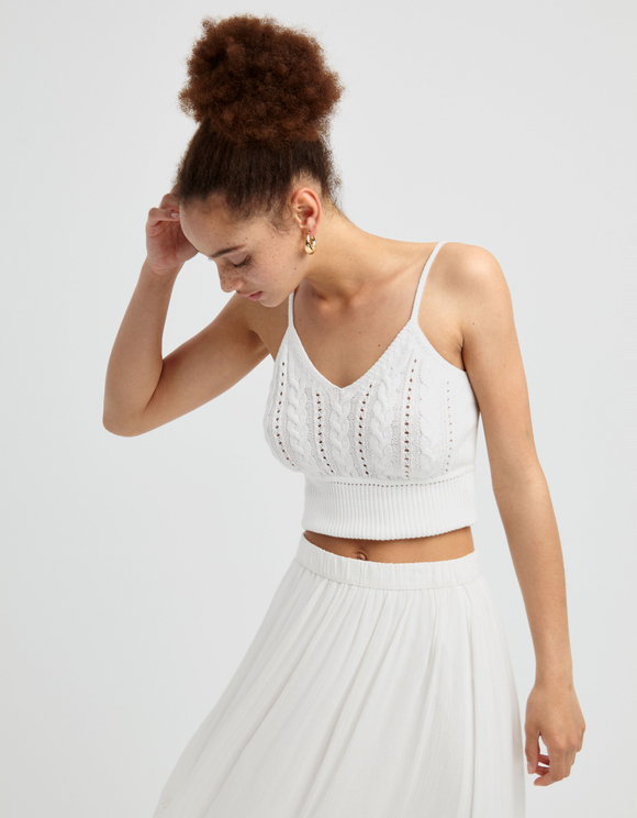 White Fine Knit Top