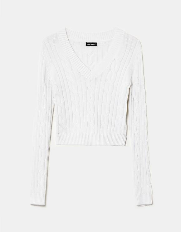 Biały sweter w serek