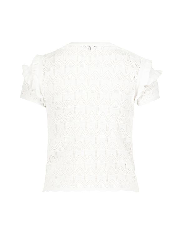 Pull Manches Courtes Blanc Pointelle