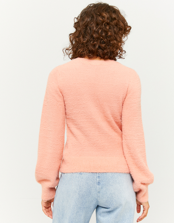 Pull Orange Doux à Manches Bouffantes